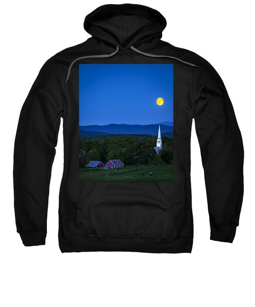 Blue Moon Rising Over Church Steeple Sweatshirt