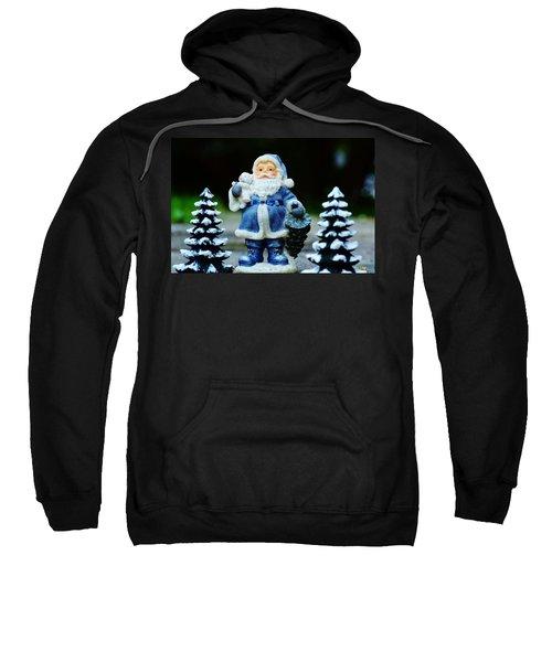 Blue Santa Christmas Card Sweatshirt by Bellesouth Studio