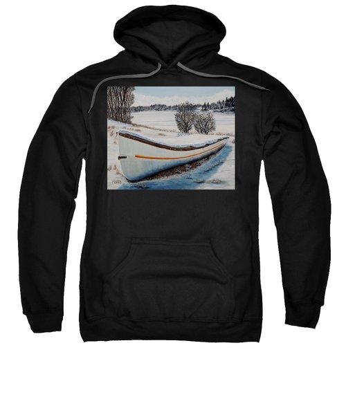 Boat Under Snow Sweatshirt