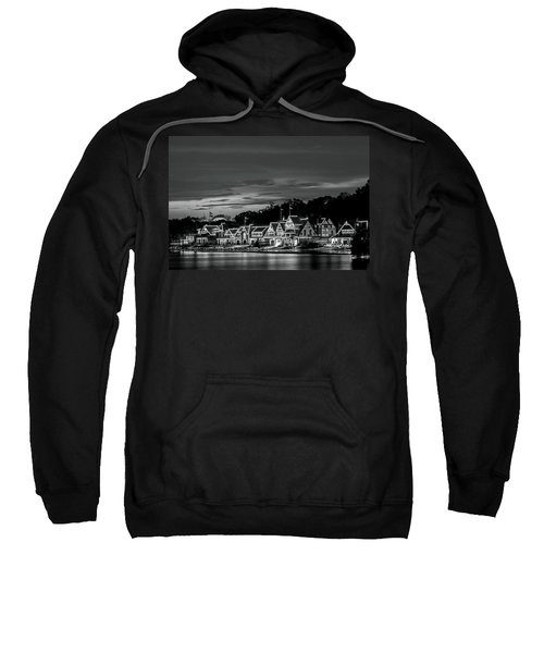 Boathouse Row Philadelphia Pa Night Black And White Sweatshirt