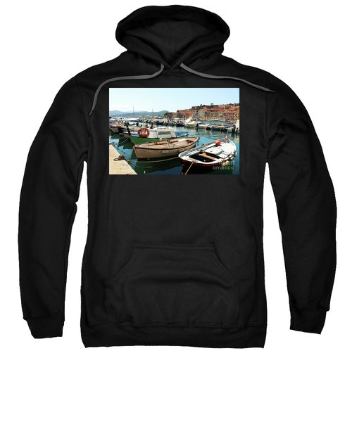 Sweatshirt featuring the photograph Boats In The Harbour by MGL Meiklejohn Graphics Licensing