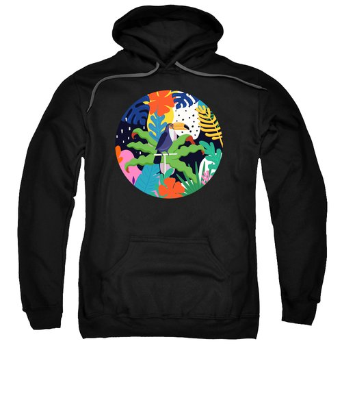 Bold Tropical Jungle Abstraction With Toucan Memphis Style Sweatshirt