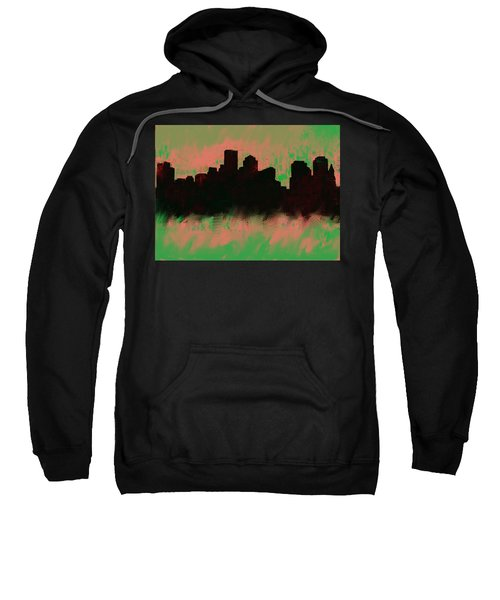 Boston Skyline Green  Sweatshirt by Enki Art