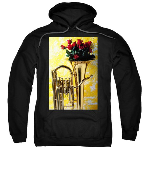 Brass Tuba With Red Roses Sweatshirt