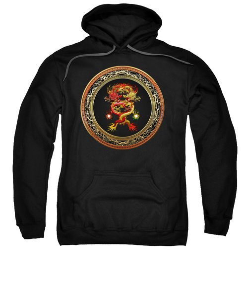 Brotherhood Of The Snake - The Red And The Yellow Dragons On Black Velvet Sweatshirt by Serge Averbukh