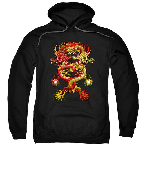 Brotherhood Of The Snake - The Red And The Yellow Dragons On Red And Black Leather Sweatshirt by Serge Averbukh