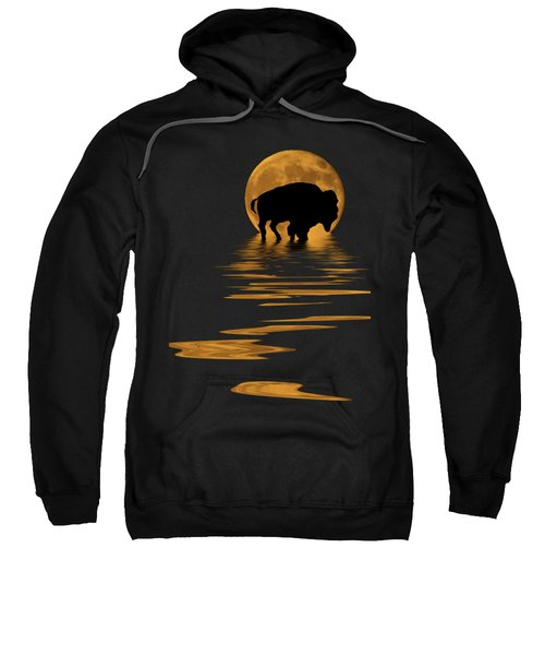 Buffalo In The Moonlight Sweatshirt by Shane Bechler