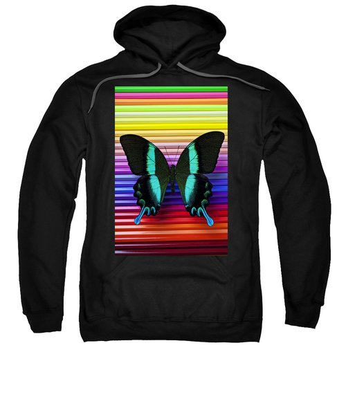 Butterfly On Colored Pencils Sweatshirt