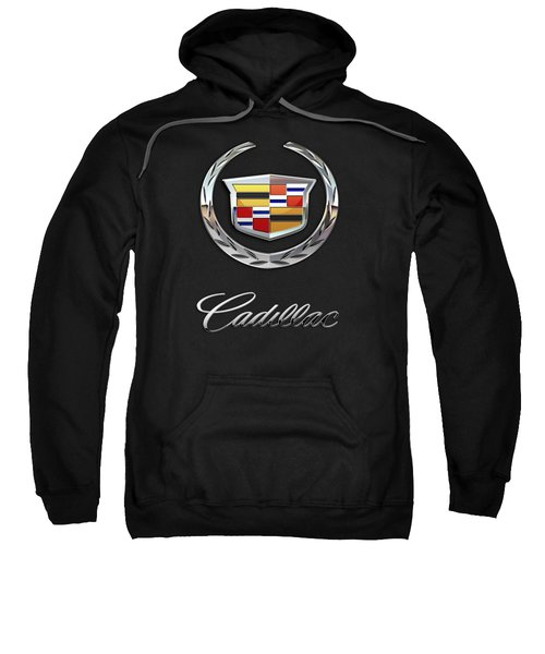 Cadillac - 3 D Badge On Black Sweatshirt by Serge Averbukh
