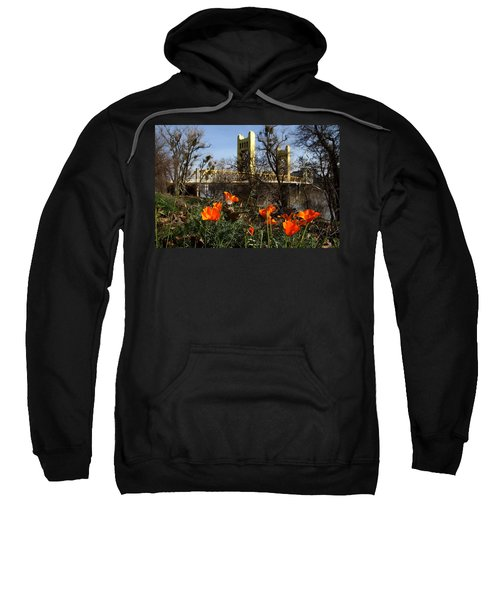 California Poppies With The Slightly Photographically Blurred Sacramento Tower Bridge In The Back Sweatshirt
