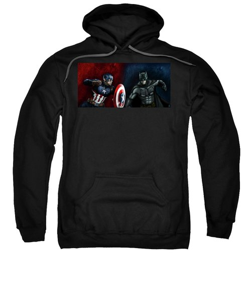 Captain America Vs Batman Sweatshirt by Vinny John Usuriello