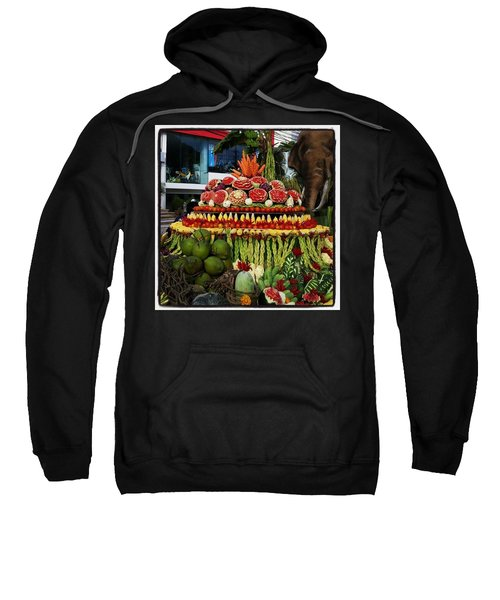 Sweatshirt featuring the photograph Carved Watermelon, Surin Elephant by Mr Photojimsf