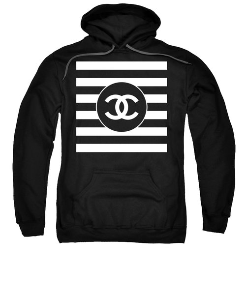 Chanel - Stripe Pattern - Black And White 2 - Fashion And Lifestyle Sweatshirt