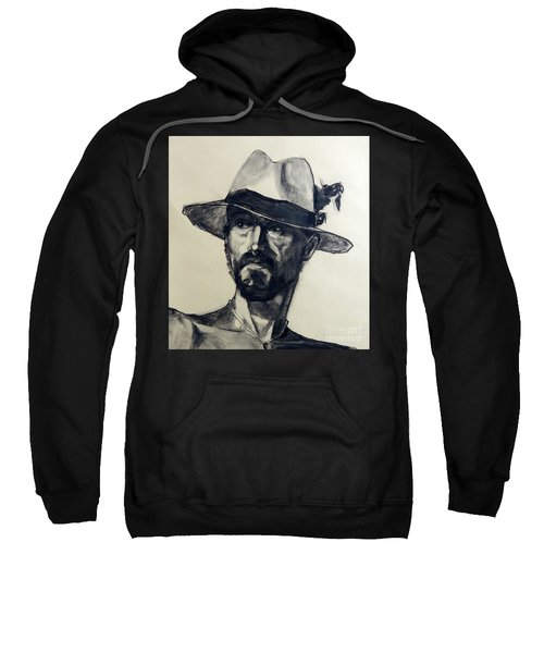 Charcoal Portrait Of A Man Wearing A Summer Hat Sweatshirt