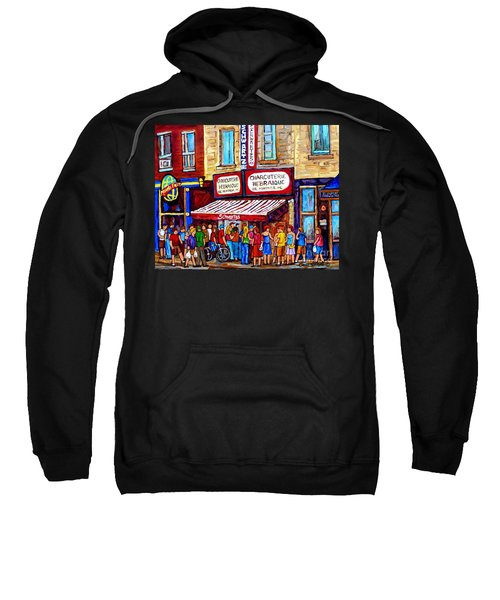 Charcuterie Hebraique Schwartz Line Up Waiting For Smoked Meat Montreal Paintings Carole Spandau     Sweatshirt