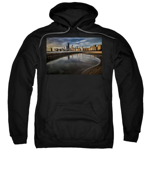 Chicago Beach And Skyline With A Person For Scale Sweatshirt