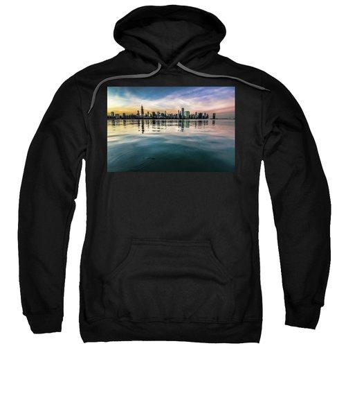 Chicago Skyline And Fish At Dusk Sweatshirt