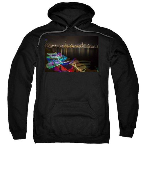 Chicago Skyline With Pixel Stick Painting Sweatshirt