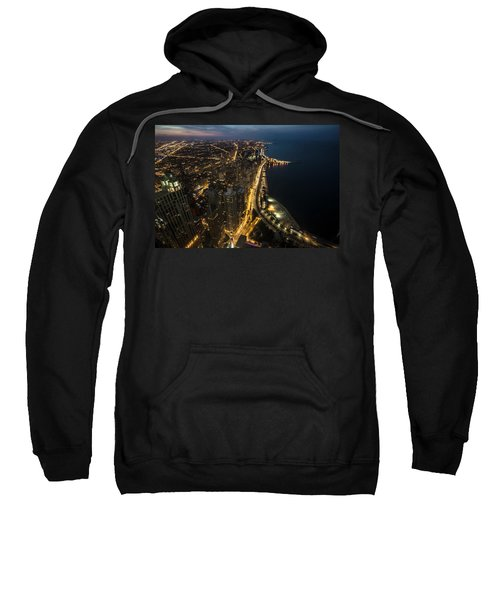 Chicago's North Side From Above At Night  Sweatshirt