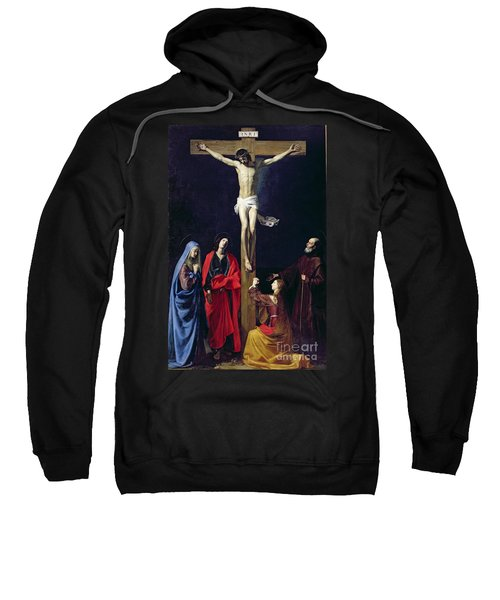 Christ On The Cross With The Virgin Mary Magdalene St John And St Francis Of Paola Sweatshirt