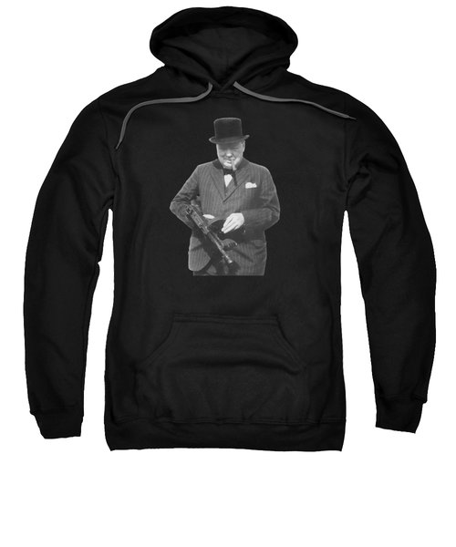 Churchill Posing With A Tommy Gun Sweatshirt by War Is Hell Store