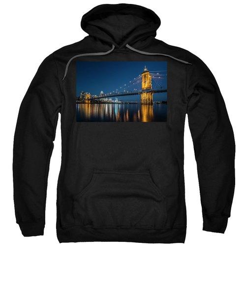 Cincinnati's Roebling Suspension Bridge At Dusk Sweatshirt