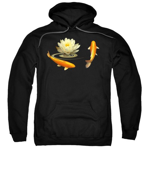 Circle Of Life - Koi Carp With Water Lily Sweatshirt by Gill Billington