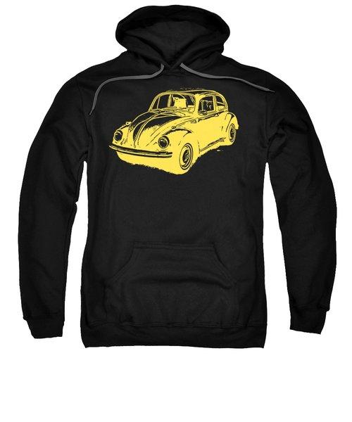 Classic Vw Beetle Tee Yellow Ink Sweatshirt by Edward Fielding