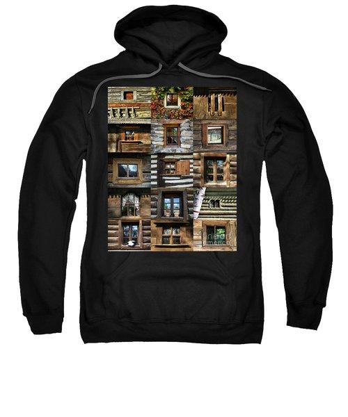 Collage From Handmade Traditional Wooden  Windows In Village Museum Bucharest Sweatshirt