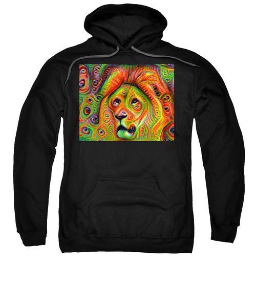 Colorful Crazy Lion Deep Dream Sweatshirt
