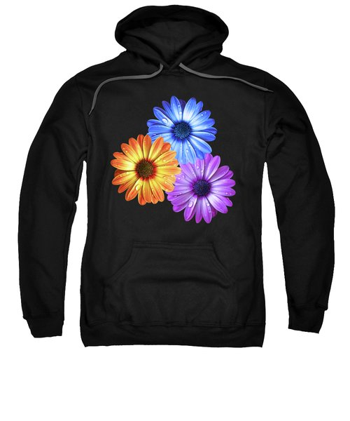 Colorful Daisies With Water Drops On Black Sweatshirt