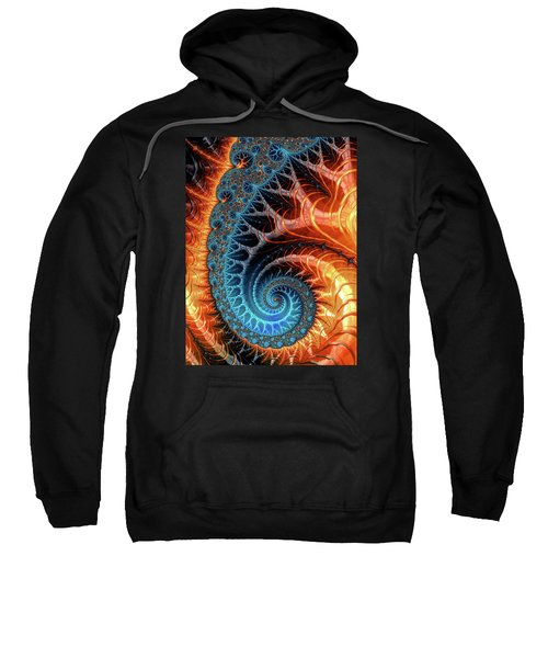 Colorful Luxe Fractal Spiral Turquoise Brown Orange Sweatshirt
