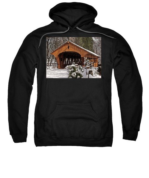 Covered Bridge At Olmsted Falls-winter-2 Sweatshirt