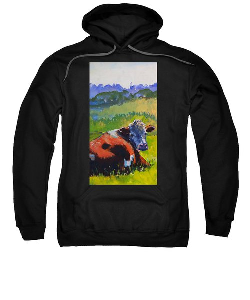 Cow Lying Down On A Sunny Day Sweatshirt