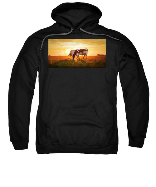 Cows In Sunset Light On The Farm Painting Sweatshirt