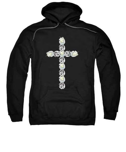 Cross Of Silver And White Roses Sweatshirt