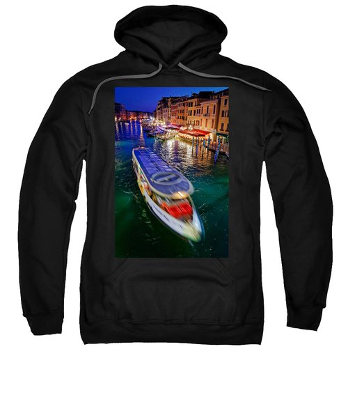 Vaporetto Crossing The Grand Canal At Night In Venice, Italy Sweatshirt