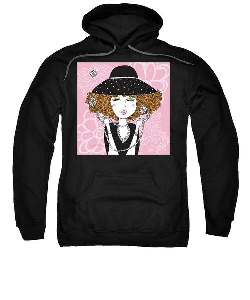 Curly Girl In Polka Dots Sweatshirt