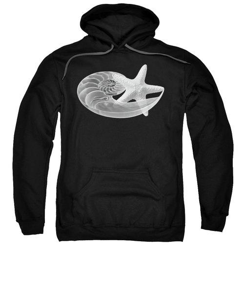 Dance With Me - Nautilus With Starfish In Black And White Sweatshirt