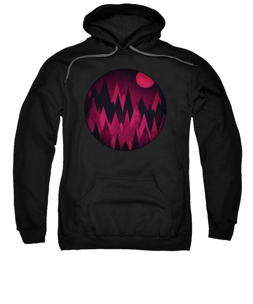 Dark Triangles - Peak Woods Abstract Grunge Mountains Design In Red Black Sweatshirt