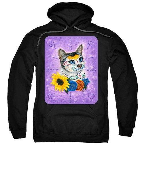 Day Of The Dead Cat Sunflowers - Sugar Skull Cat Sweatshirt