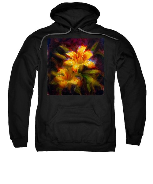 Daylily Sunshine - Colorful Tiger Lily/orange Day-lily Floral Still Life  Sweatshirt