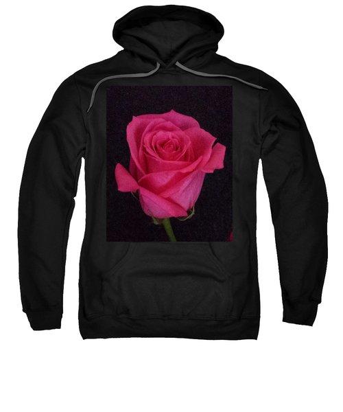 Deep Pink Rose On Black Sweatshirt