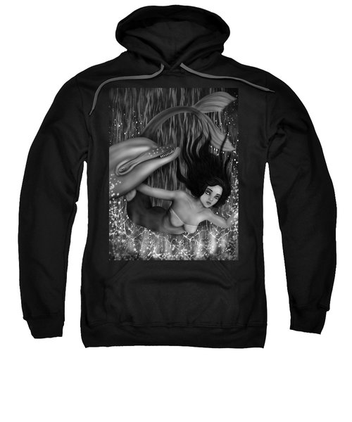 Deep Sea Mermaid - Black And White Fantasy Art Sweatshirt