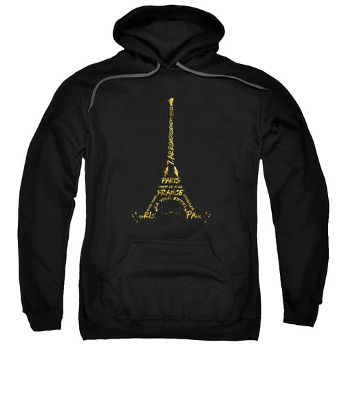 Digital-art Eiffel Tower - Black And Golden Sweatshirt by Melanie Viola