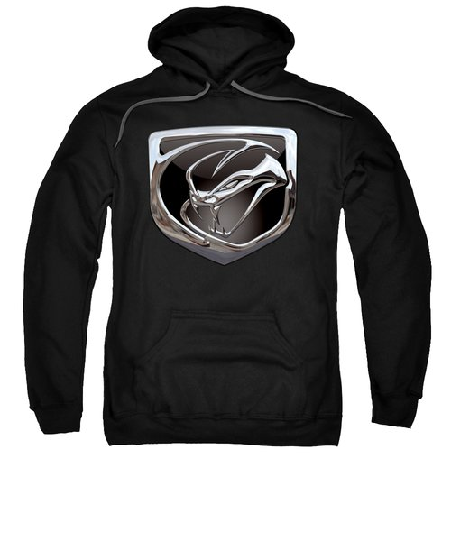 Dodge Viper - 3d Badge On Black Sweatshirt by Serge Averbukh