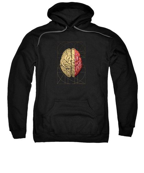 Dualities - Half-gold Human Brain On Black And White Canvas Sweatshirt