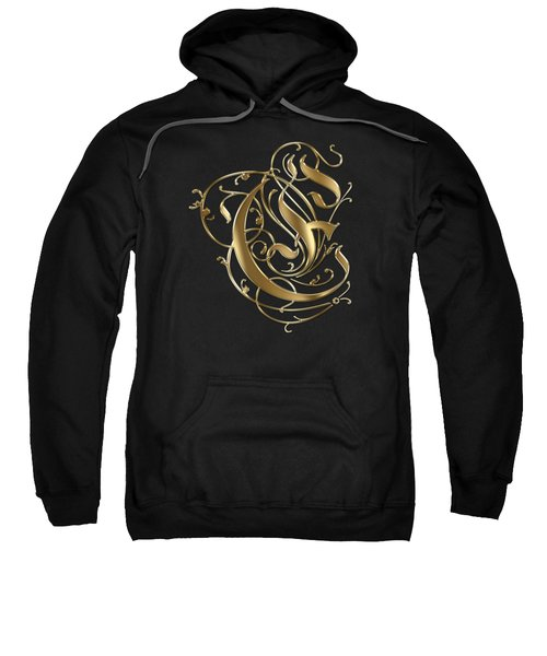 E Golden Ornamental Letter Typography Sweatshirt