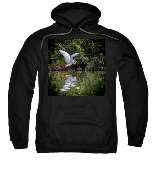 Egret Hunting For Lunch Sweatshirt