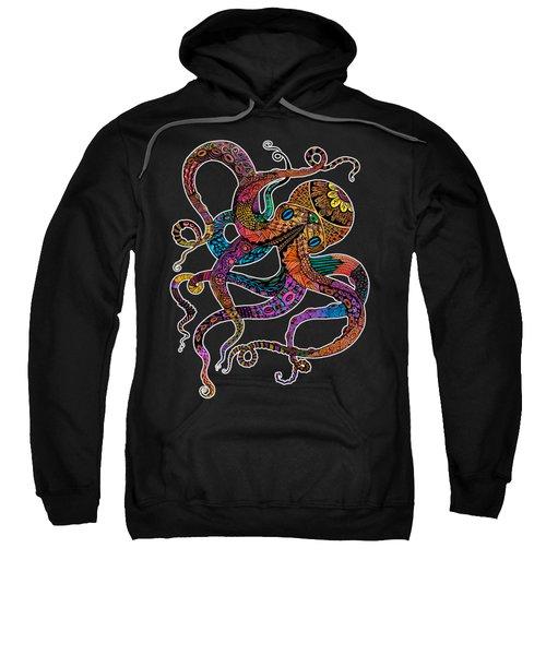 Electric Octopus On Black Sweatshirt